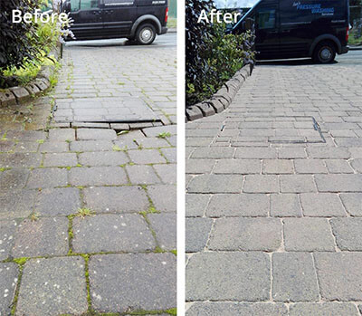 Block paving pressure washing in Carlisle before and after