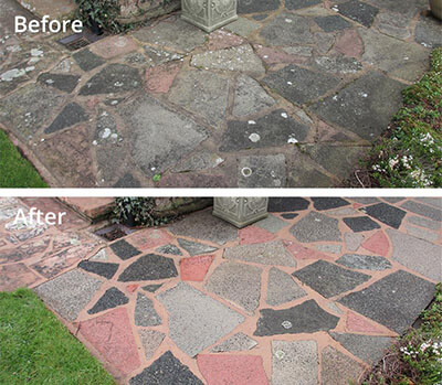 Crazy paving pressure washing in Carlisle before and after