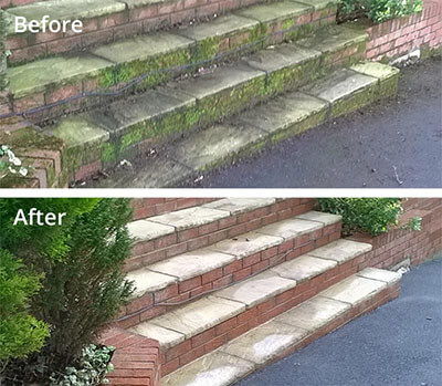 Entrance steps pressure washing in Carlisle before and after