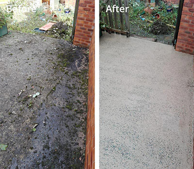 Garden concrete pressure washing in Carlisle before and after