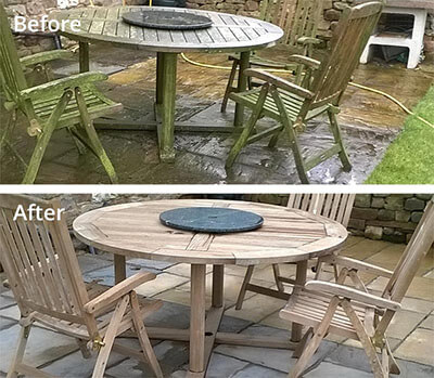 Garden furniture pressure washing in Carlisle before and after