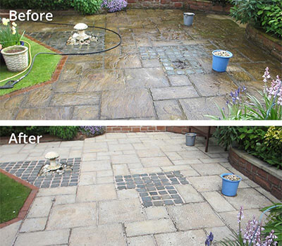 Garden paving pressure washing in Carlisle before and after