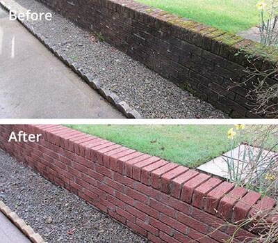 Garden wall pressure washing in Carlisle before and after