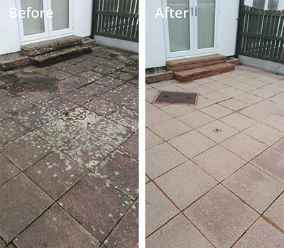 Patio paving pressure washing in Carlisle before and after
