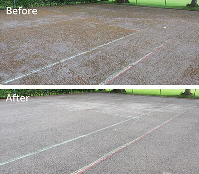 Tennis court pressure washing in Carlisle before and after